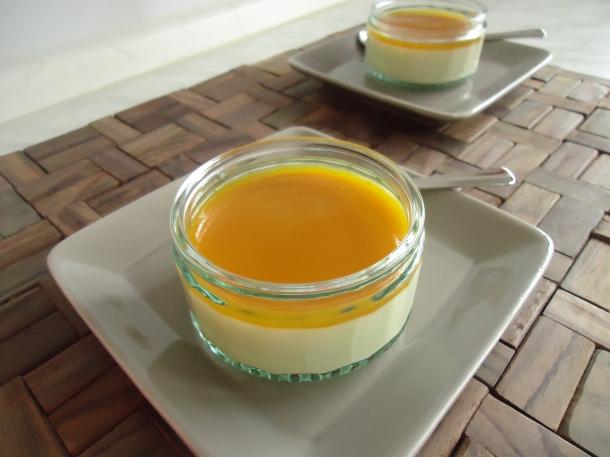 Panna cotta au chocolat blanc et son coulis de mangue 001