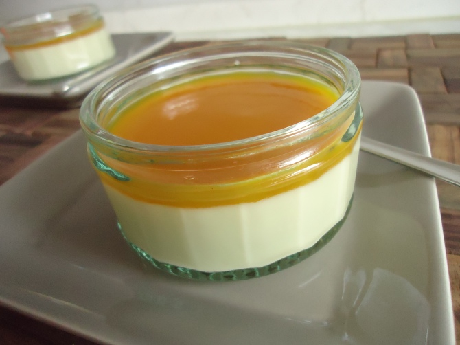 Panna cotta au chocolat blanc et son coulis de mangue 019