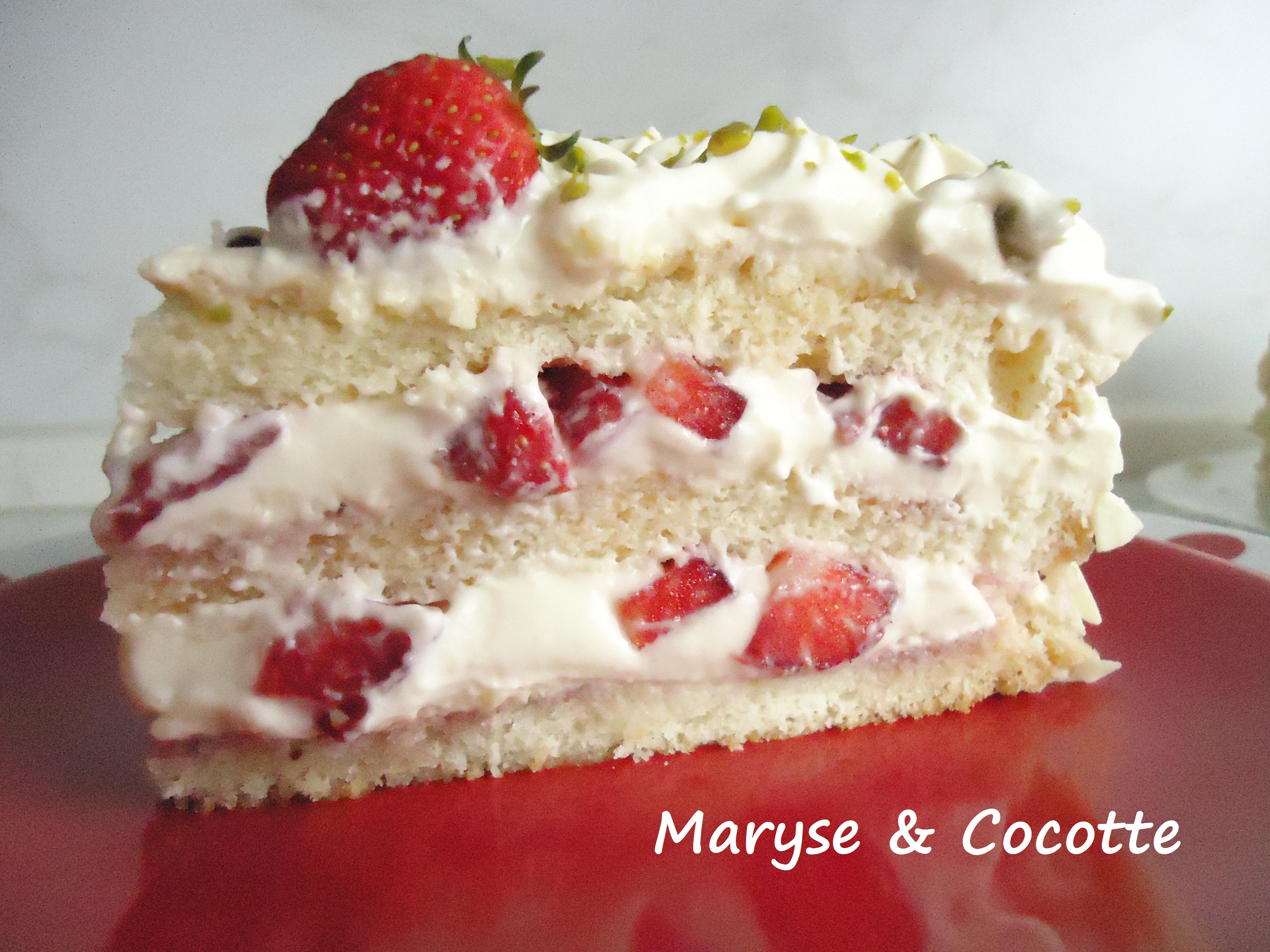 G teau diplomate aux fraises maryse cocotte - Decoration gateau avec creme chantilly ...