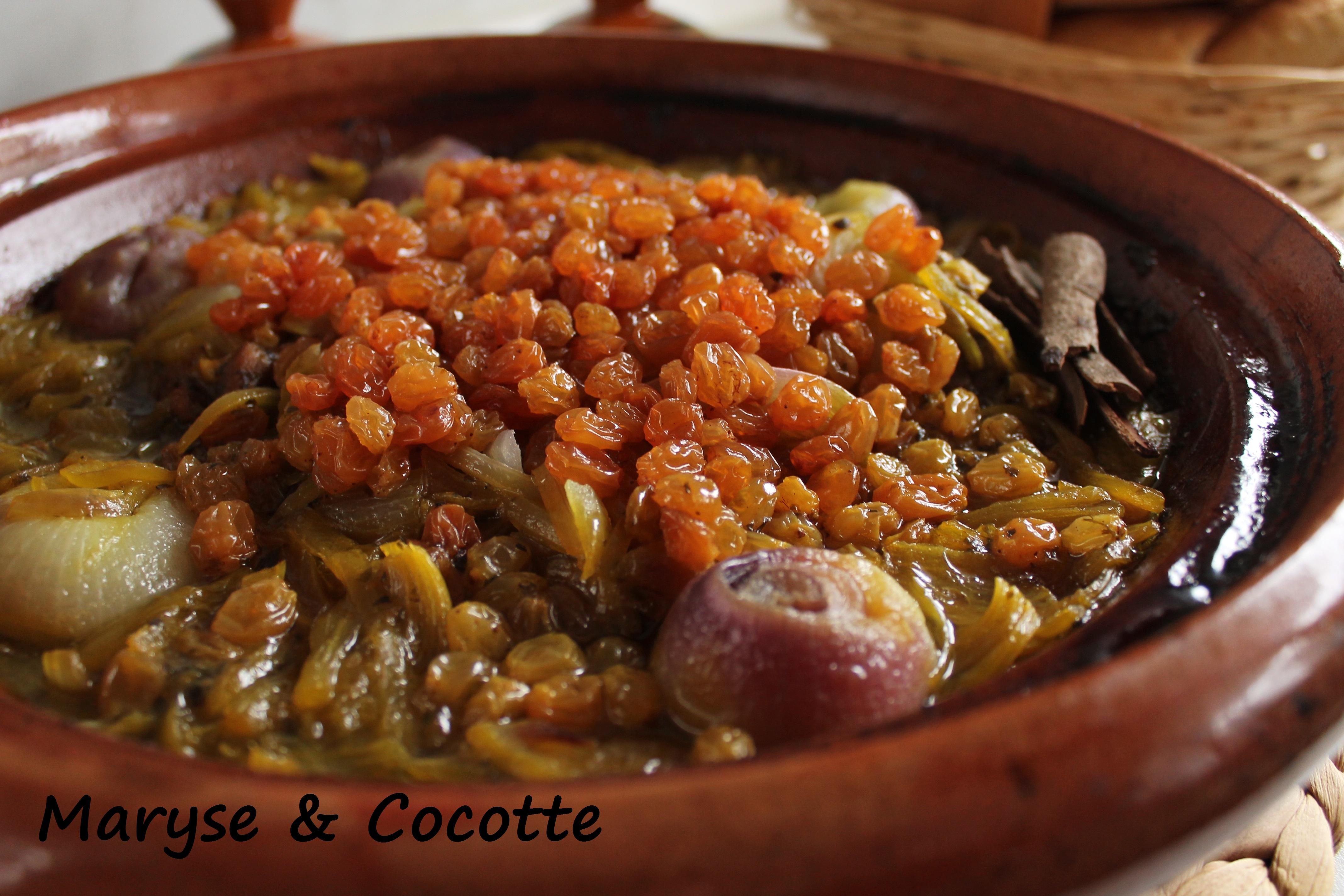 Tagine aux oignons et raisins secs 120