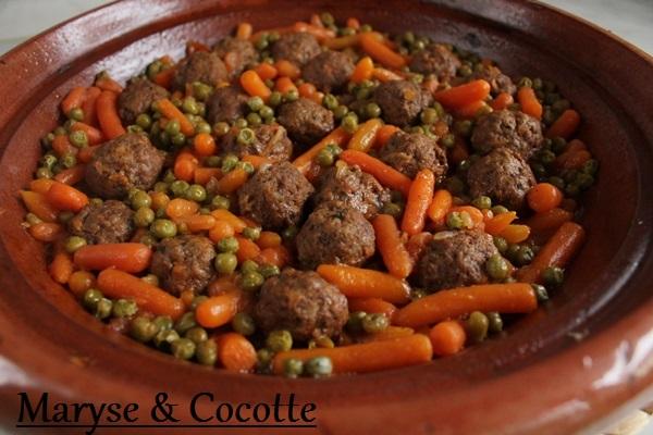 Tagine de boulettes de viande petits pois carottes 020